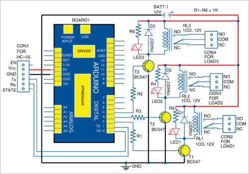 Circuit diagram of home automation system