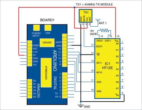 Transmitter side circuit diagram of Robotic Car