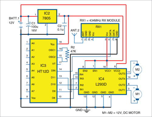 Receiver side circuit diagram of Robotic Car