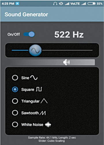 522Hz square-wave signal using Sound Generator app