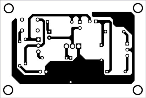 Actual-size PCB layout of loop-based anti-theft alarm