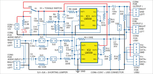 Circuit diagram of configurable audio buffer for headphones
