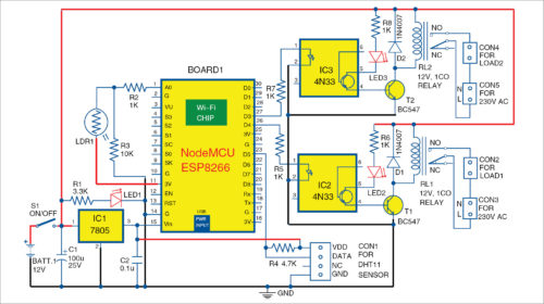 Circuit diagram of ESP8266-based home automation system