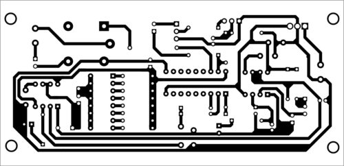 Actual-size PCB layout of automatic plants watering system with melody