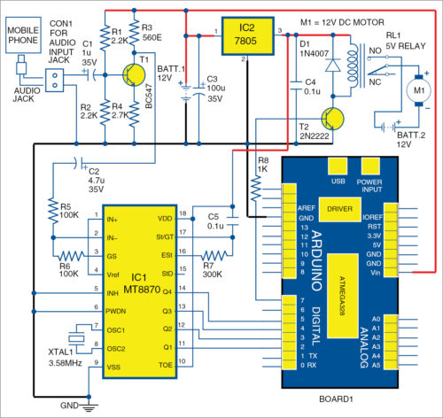 Circuit diagram of automatic food dispenser for aquarium