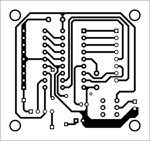 Actual-size PCB layout of transmitter circuit