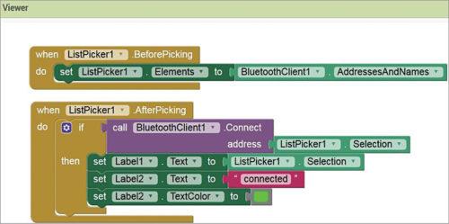 Blocks programming for ListPicker