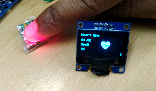 Pulse Sensor prototype with Heart Rate Monitor and oxygen meter