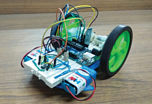 Authors' prototype of the voice-controlled robotic car