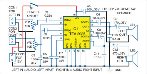 Circuit diagram of 5W stereo audio amplifier
