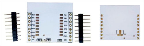 Front and rear sides of breakout board for ESP-12E/F chip