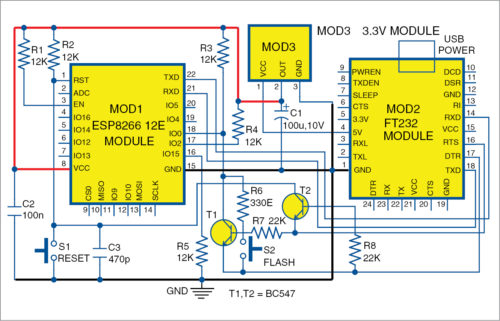 Circuit diagram of the automatic ESP8266-12E/F Module Programmer