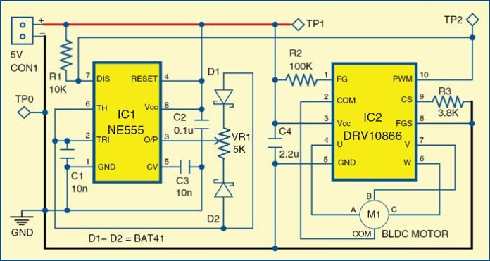 single-side PCB for the brushless DC motor driver