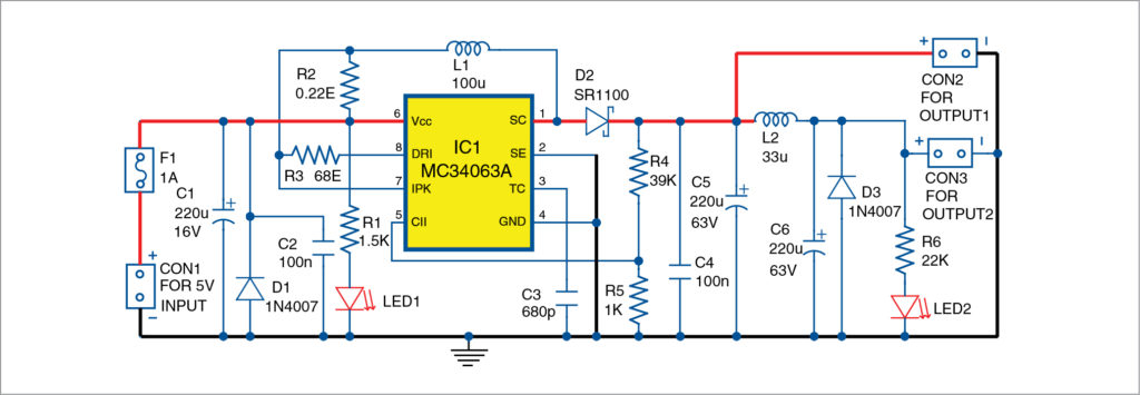 Circuit diagram of 5V DC to 48V DC converter