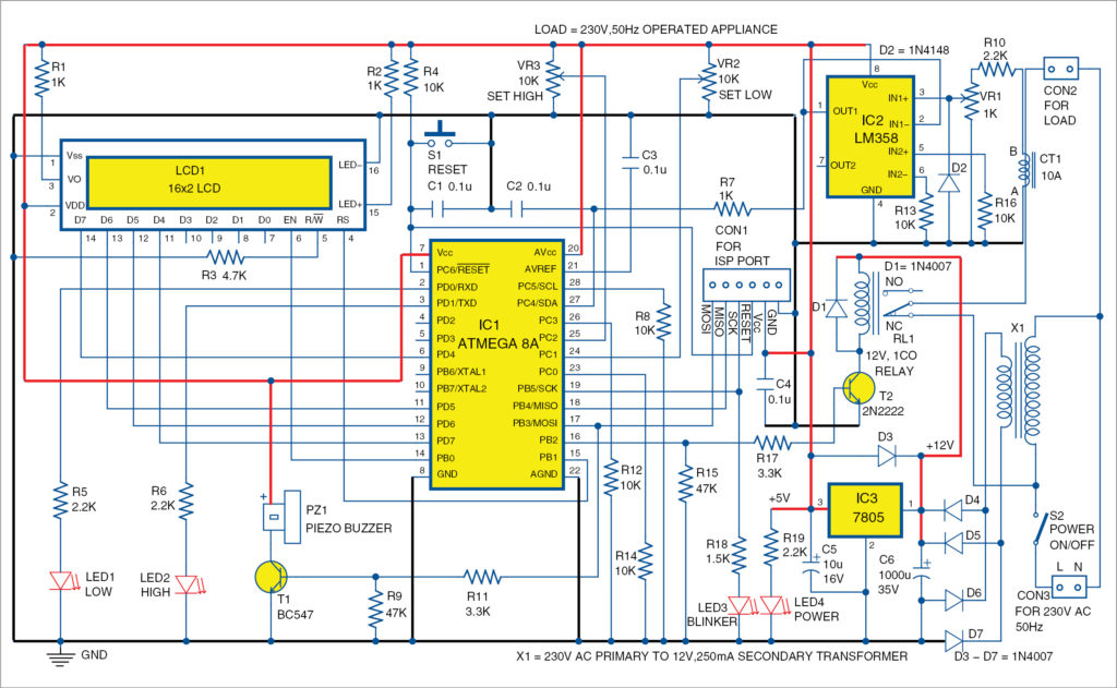Circuit diagram of appliance guard
