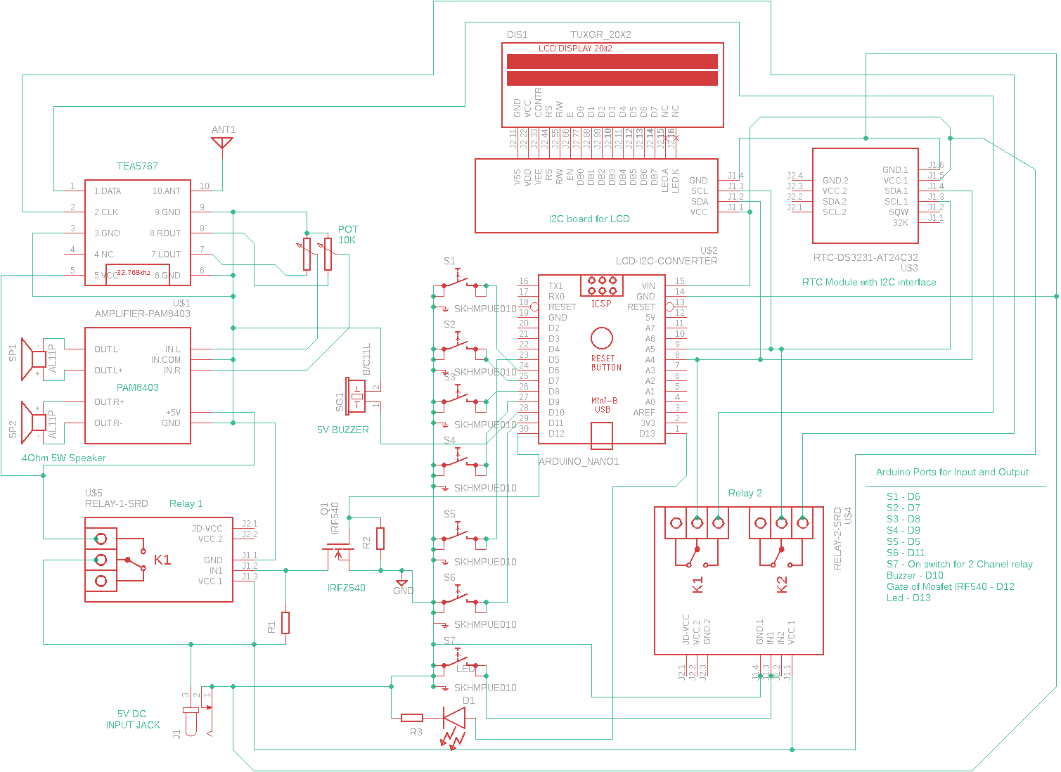 Circuit Diagram for Alarm Clock Radio Using Arduino