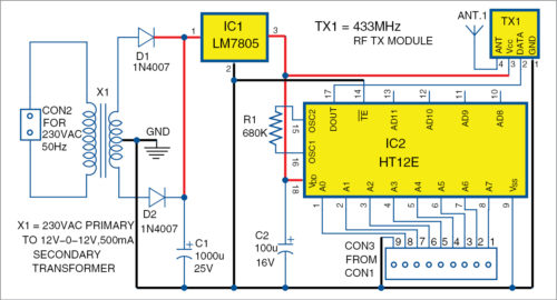 Circuit diagram of the transmitter unit for Wireless Water Level Controller