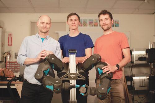 Blue, with its creators, Pieter Abbeel, David Gealy and Stephen McKinley (Credit: UC Berkeley)