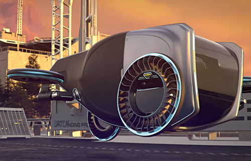 Goodyear's AERO concept can function in the vertical plane as a road going tyre/wheel assembly, and in the horizontal plane as a tilt-rotor propeller (Credit: www.rubbernews.com)