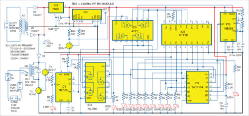 Circuit diagram of the receiver unit for Wireless Water Level Controller
