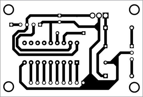 Actual-size PCB layout of the transmitter unit for Wireless Water Level Controller