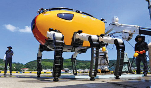 Crabster robot for fixing structures underwater