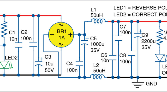 circuit diagram of the filter and polarity guard