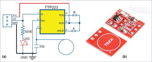 Fig. 3: (a) Circuit diagram of TTP223 module; (b) PCB of TTP223 module