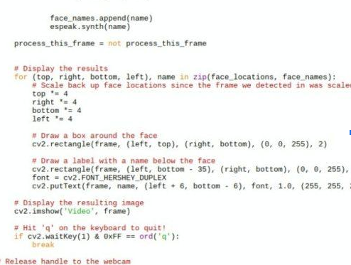 Python code Smart Face Recogination