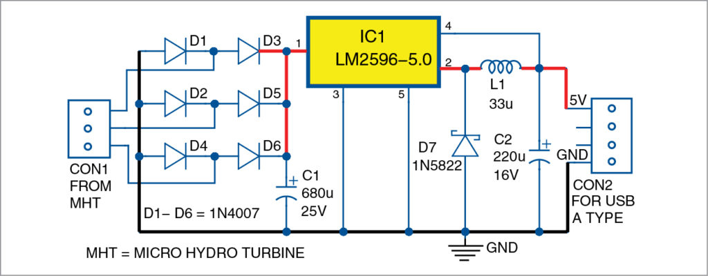 Fig. 1: Circuit diagram for hydropower generation