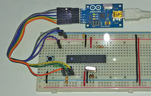 A circuit built on a breadboard for an Arduino-based project