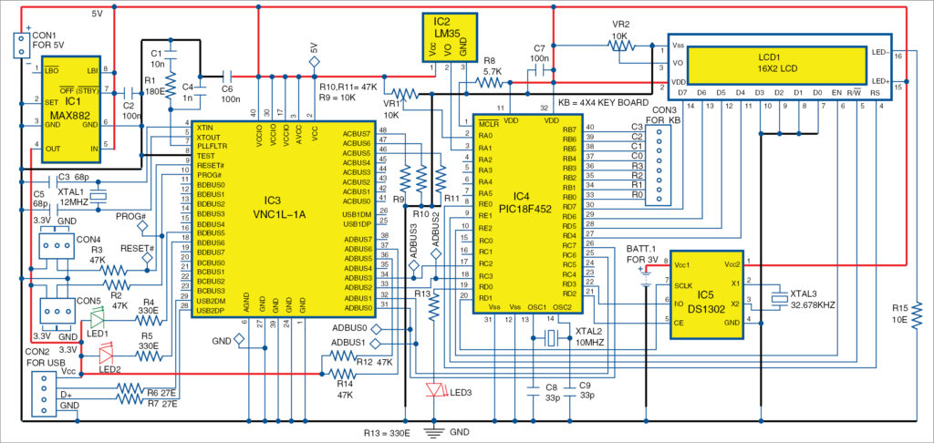 Fig. 3: Circuit diagram of the real-time USB data logger