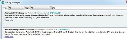 Fig. 4: Installing Adafruit GFX library