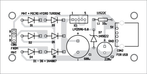Fig. 5: Components layout for the PCB