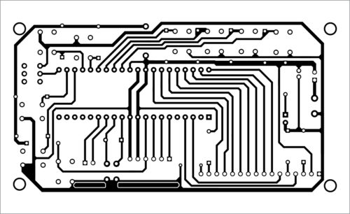 Fig. 2: Actual-size PCB layout of the serial data debugger