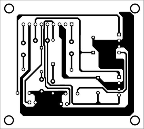 Fig. 2: Actual-size PCB layout of the hi-fi audio stereo power amplifier
