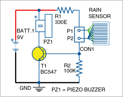 Fig. 2: Circuit diagram of the rain and steam detector