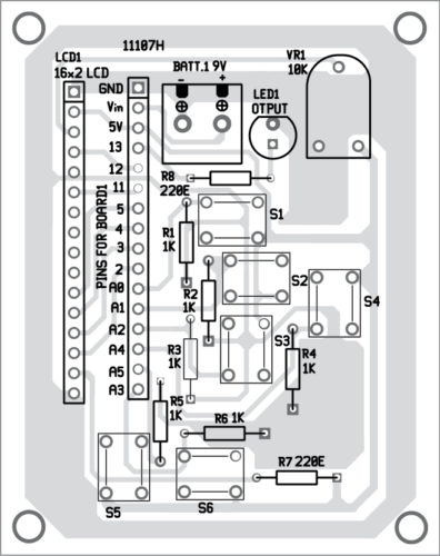 Fig. 4: Components layout for the PCB