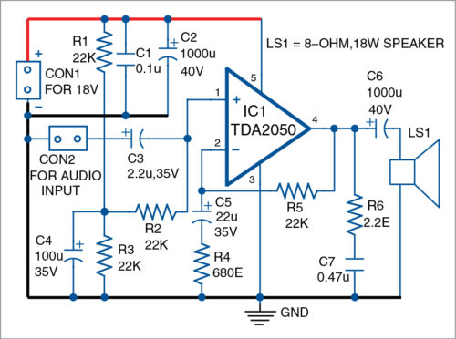 Fig. 1: Circuit diagram of the TDA2050-based 15W audio amplifier