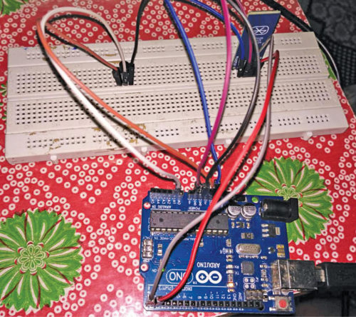 Fig. 1: Authors' prototype wired on breadboard
