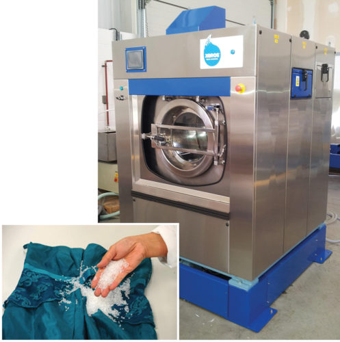 Nearly waterless washing machine (right) that uses nylon polymer beads (below) for washing (Credit: www.forbes.com)