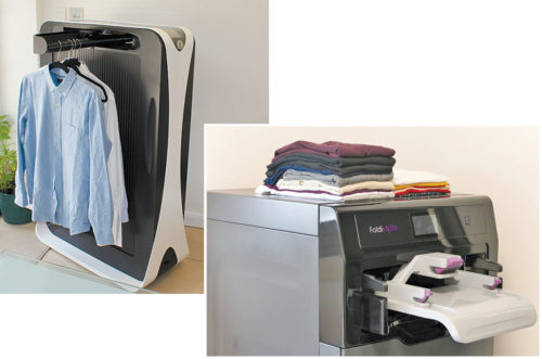 Effie can iron clothes (above); FoldiMate can fold and organise clothes (right)