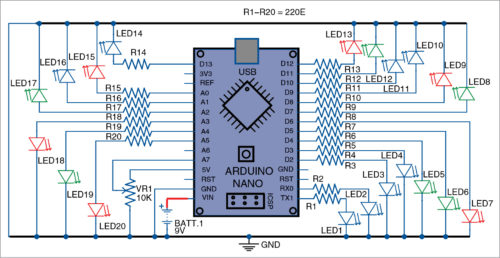 Fig. 1: Circuit diagram of the LED flasher using Arduino