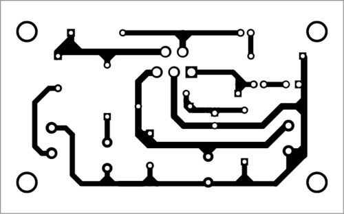 Fig. 2: Actual-size PCB layout of the TDA2050-based audio amplifier