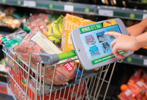 A smart shopping cart (Credit: www.trendhunter.com)