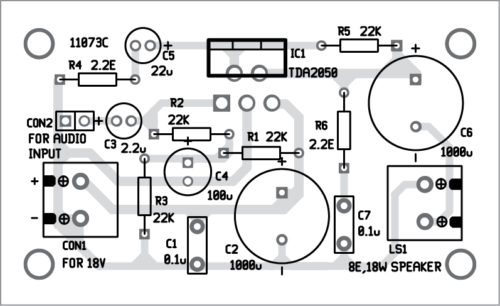 Fig. 3: Components layout for the PCB