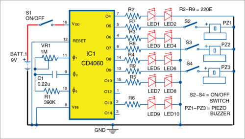 Fig. 1: Circuit diagram of the electronic toy for child