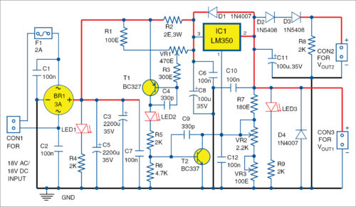 Fig. 1: Circuit diagram of the simple power supply with adjustable voltage and current with LM350