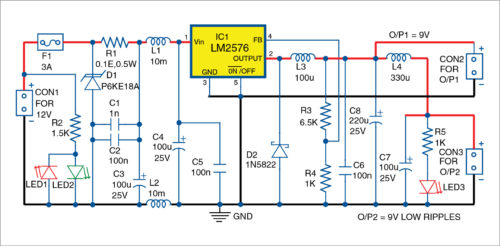 Fig. 1: Circuit diagram of 12V DC to 9V DC converter