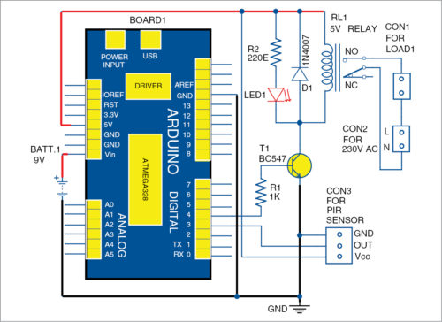 Fig. 1: Circuit diagram of the motion-sensor-based security alert system